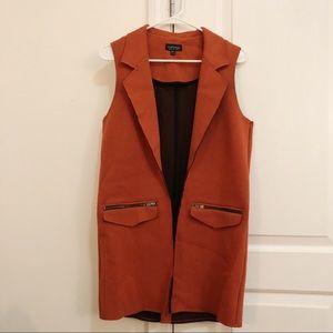 Burnt Orange Topshop Vest Duster